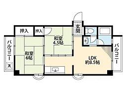 鶴町グリーンコーポ[4階]の間取り