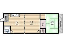 奥村第2マンション[4階]の間取り