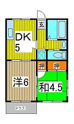 埼玉県さいたま市南区大字広ヶ谷戸の賃貸アパートの間取り