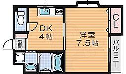 PAL COURT 片鉾本町 3階1DKの間取り