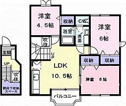 香川県綾歌郡宇多津町浜一番丁の賃貸アパートの間取り