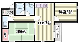 JR東海道・山陽本線 西明石駅 徒歩29分の賃貸マンション 2階2DKの間取り