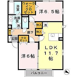 大阪府富田林市高辺台1丁目の賃貸アパートの間取り