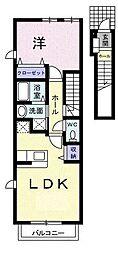 西武池袋線 東久留米駅 徒歩19分の賃貸アパート 2階1LDKの間取り