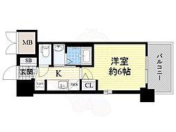 JR大阪環状線 今宮駅 徒歩6分の賃貸マンション 10階1Kの間取り