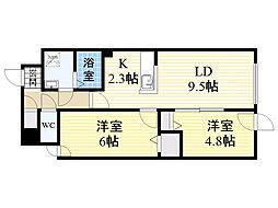 北海道札幌市中央区北4条西17丁目の賃貸マンションの間取り