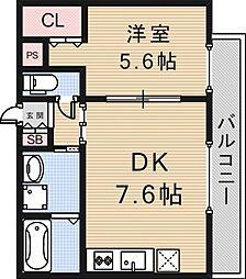 アミティ小阪[4階]の間取り