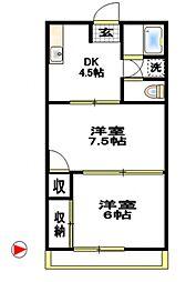 コーポ徳延II[4階]の間取り