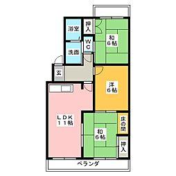 岡田真英ハイツ[4階]の間取り