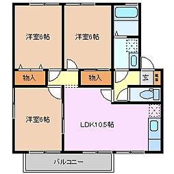 三重県津市高茶屋小森町の賃貸アパートの間取り