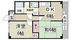 兵庫県神戸市灘区大和町3丁目の賃貸マンションの間取り