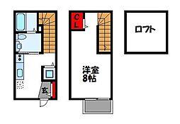西鉄貝塚線 和白駅 徒歩3分の賃貸アパート 2階1Kの間取り