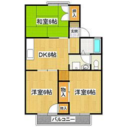茨城県つくば市並木2丁目の賃貸アパートの間取り