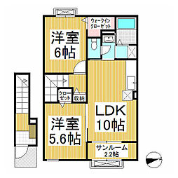 JR飯山線 飯山駅 徒歩11分の賃貸アパート 2階2LDKの間取り