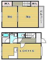 [テラスハウス] 大阪府茨木市耳原3丁目 の賃貸【大阪府 / 茨木市】の間取り