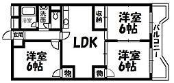 菊ハイツ[403号室]の間取り