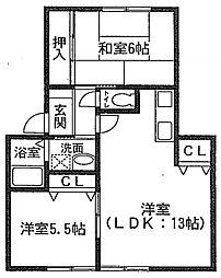 兵庫県赤穂市元禄橋町の賃貸アパートの間取り