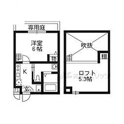 JR東海道・山陽本線 京都駅 徒歩8分の賃貸アパート 1階1Kの間取り