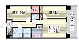 サニープレイス西芦屋 2号館 7階2LDKの間取り
