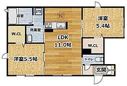 シャーメゾン桃山 1階2LDKの間取り