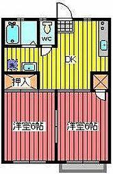 メゾン東領家[1階]の間取り