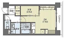 名古屋市営東山線 星ヶ丘駅 徒歩6分の賃貸マンション 2階1DKの間取り