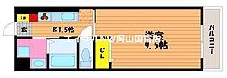 福富グラードマンション 4階1Kの間取り