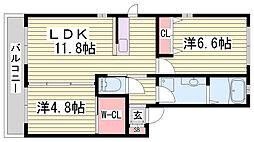 兵庫県加東市上中2丁目の賃貸アパートの間取り