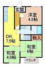プロパティカオルB棟[2階]の間取り