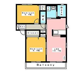 ボナール華 B[1階]の間取り