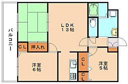 プレアール新飯塚[5階]の間取り