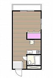 ダイヤパレス初台 幡ヶ谷6分 閑静な住宅街 広めのワンルーム[3階]の間取り