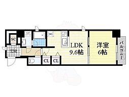 Osaka Metro御堂筋線 淀屋橋駅 徒歩7分の賃貸マンション 3階1LDKの間取り