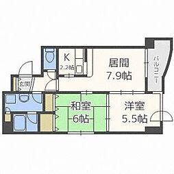 北海道札幌市中央区南二条西13丁目の賃貸マンションの間取り