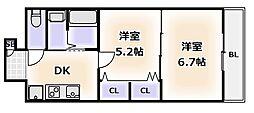 南海線 天下茶屋駅 徒歩6分の賃貸マンション 10階2Kの間取り