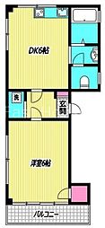 東京都中野区沼袋4丁目の賃貸マンションの間取り