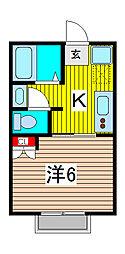針ヶ谷コーポ[2階]の間取り