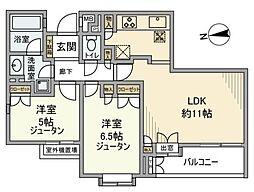 コートハウス世田谷・砧[201号室]の間取り