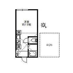 京王井の頭線 東松原駅 徒歩3分の賃貸アパート 2階ワンルームの間取り