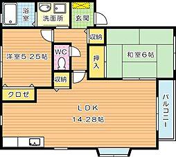 フラットサニーガーデン A棟[2階]の間取り