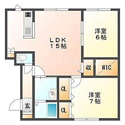 北海道札幌市東区北二十一条東18丁目の賃貸アパートの間取り