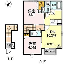 ルミナス 2階2LDKの間取り
