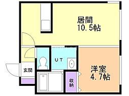 stella fissa shinsapporo 4階1LDKの間取り