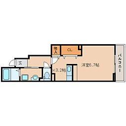 近鉄天理線 天理駅 徒歩18分の賃貸アパート 1階ワンルームの間取り