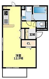 名鉄三河線 上挙母駅 徒歩8分の賃貸アパート 3階ワンルームの間取り