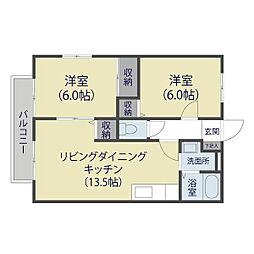 埼玉県草加市谷塚上町の賃貸アパートの間取り