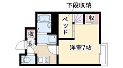 愛知県名古屋市昭和区石仏町1丁目の賃貸アパートの間取り