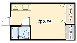 Osaka Metro長堀鶴見緑地線 今福鶴見駅 徒歩14分の賃貸マンション 3階ワンルームの間取り