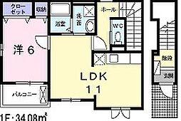 兵庫県姫路市白国3丁目の賃貸アパートの間取り