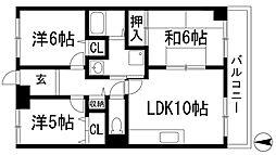カサベルデ宝塚[2階]の間取り